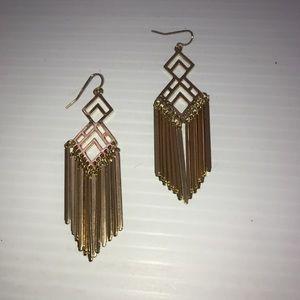 Dangling chandelier goldtone earrings